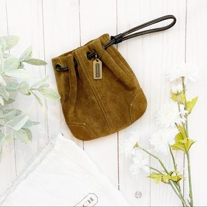 COACH • suede drawstring mini bag